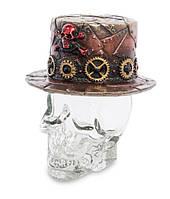 Графин декоративний Капелюх у стилі Стімпанк на скляному черепі Veronese WS-1031