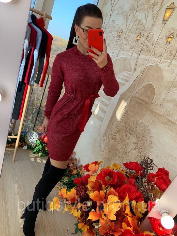 Шикарное теплое платье с жемчугом