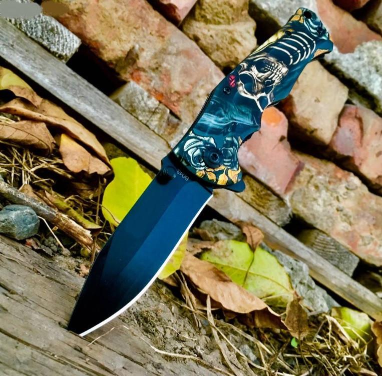 Нож складной Скелет, полуавтомат, клипса, карманные ножи