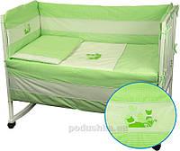 Защитное ограждение для детской кроватки Руно Котята салатовое