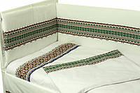 Защитное ограждение для детской кроватки Руно Орнамент зеленый