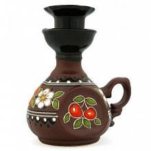 Подсвечник глиняный для одной свечи украинская роспись