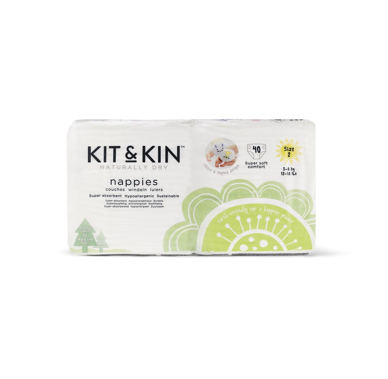 Эко Подгузники Kit & Kin размер 2(40 шт/уп), 5-8 кг, Кролик/Леопард