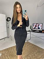 Костюм женский вельветовый юбка , пиджак Чёрный, 44-46