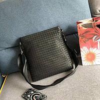 Сумка мужская черная стильная качественная вместительная мессенджер Bottega Veneta, фото 1