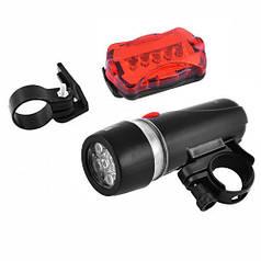 Велосипедный фонарь велофара со стопом HLV FY-812/XY-108-5LED Black