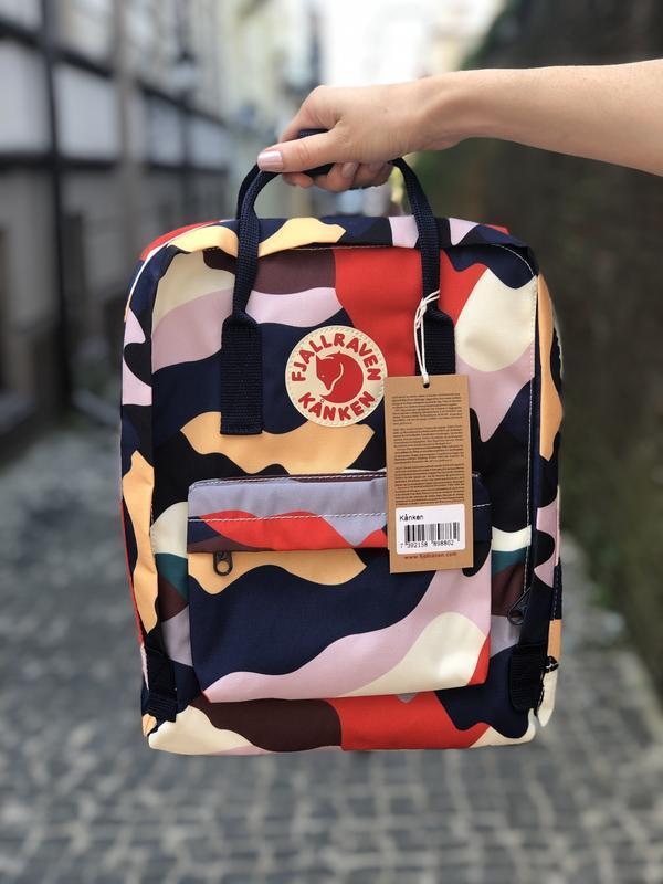 Стильный городской, школьный рюкзак канкен для девочки Fjallraven Kanken classic 16 л камуфляж