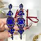 """Вечерний комплект """"Астрит"""" (браслет и серьги), синего цвета, фото 3"""