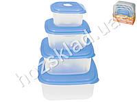 Судочки Stenson пластиковые квадратные 0.4/0.8/1.5/2.8L (цена за набор 4шт)