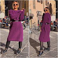 Платье вязаное миди повседневное мягкое оверсайз крой яркие цвета Smva4063