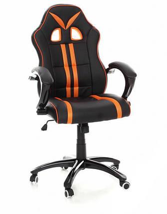 Офисное кожаное кресло Racer черно-оранжевое, фото 2