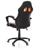 Офисное кожаное кресло Racer черно-оранжевое, фото 3