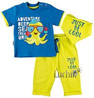 """Комплект для мальчика (футболка + бриджи + слюнявчик). Размер: 68. синий1. TM """"MINIWORLD"""" 14618. Турция."""