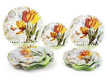 Тарілка скляна кругла 25см Букет тюльпанів 6шт 809-244 ТМBONADI