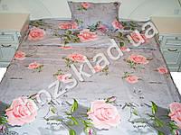 Комплект постельного белья. 100% хлопок. полуторный Роза мелкая на сером 1 наволочка 50x70см
