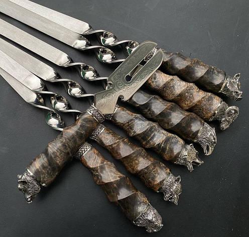 """Набор широких шампуров для люля-кебаб с вилкой  """"Дикие звери - кап"""" в кожаном колчане, фото 2"""