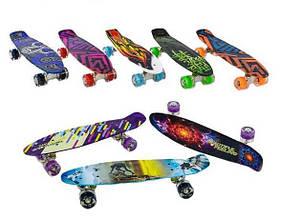 Скейт (пенни борд) Penny board со светящимися колесами АБСТРАКЦИЯ арт. 99160