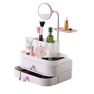 Настольный ящик-органайзер для хранения косметики с зеркалом Tina 7009, фото 2