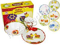 Набор детской керамической посуды В мире животных (чашка 220мл, тарелка 20см, миска 600мл)