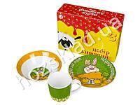 Набор детской керамической посуды в яркой под. уп. Не пора бы нам подкрепиться Заец 3 предмета
