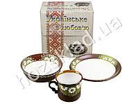 Набор детской керамической посуды в яркой подарочной упаковке Ромашки 3 пр.