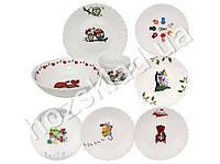 Набор детской керамической посуды Веселые пушистики (чашка 175мл, тарелка 19см, миска 570мл)