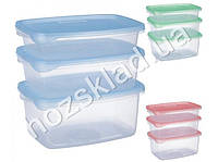 Набор емкостей для пищевых продуктов 0,7л, 1л, 1,5л, цвет ассорти (цена за набор 3 предмета)