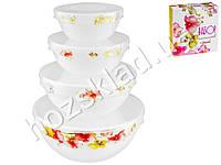 Набор емкостей для хранения продуктов с крышкой Орхидея (006) (цена за набор 4шт)