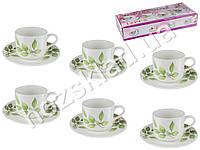 Набор чайный 12 предметов Береза (чашки по 175мл, блюдца D15см) на 6 персон