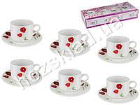 Набор чайный 12 предметов Мак (чашки по 175мл, блюдца D15см) на 6 персон
