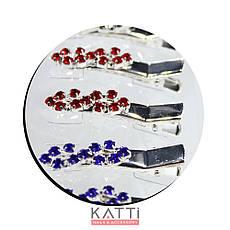 42143 заколка KATTi уточка металл малая серебро 8ка со стразами 4см 2шт, фото 3