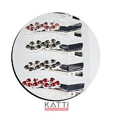 42143 заколка KATTi уточка металл малая серебро 8ка со стразами 4см 2шт, фото 2