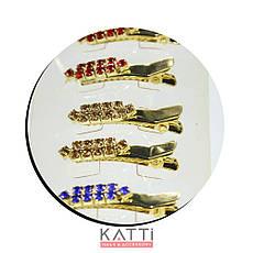 42144 заколка KATTi уточка металл малая золото со стразами 4см 2шт, фото 2