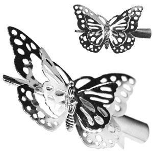 42146 заколка KATTi уточка металл средняя серебро 3D бабочка 5,5см 1шт