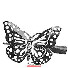 42146 заколка KATTi уточка металл средняя серебро 3D бабочка 5,5см 1шт, фото 3