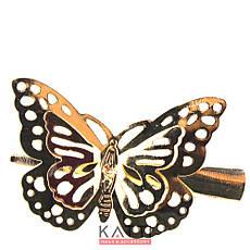 42147 заколка KATTi уточка металл средняя золото 3D бабочка 5,5см 1шт, фото 2