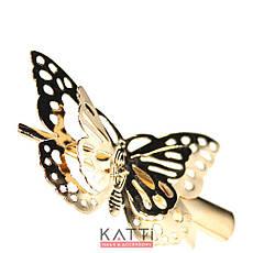 42147 заколка KATTi уточка металл средняя золото 3D бабочка 5,5см 1шт, фото 3