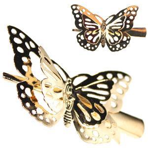 42147 заколка KATTi уточка металл средняя золото 3D бабочка 5,5см 1шт
