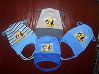 "Шапка на завязках для мальчика оптом ""Puppy"" р.44-46 голубой, синий, серый"