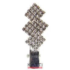 42148 заколка KATTi уточка металл малая серебро фигурная со стразами 4см 1шт, фото 3