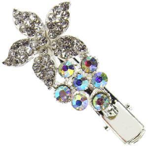 42150 заколка KATTi уточка металл малая серебро 3D цветок со стразами 4,5см 1шт