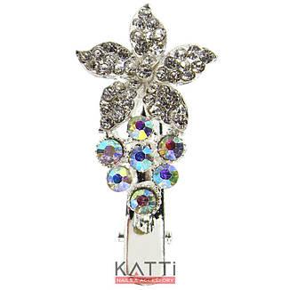 42150 заколка KATTi уточка металл малая серебро 3D цветок со стразами 4,5см 1шт, фото 2