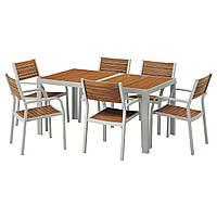 IKEA SJALLAND Садовый стол и 6 стульев (192.651.99)