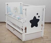 Кроватка Звездочка шарнир шухляда + откидной бок