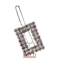 30768 невидимка KATTi серебро заколка-челка металл со стразами в ассортименте 1шт, фото 3