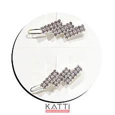 30768 невидимка KATTi серебро заколка-челка металл со стразами в ассортименте 1шт, фото 2