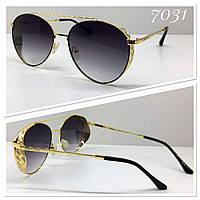 Солнцезащитные очки авиаторы кругляши серые градиент