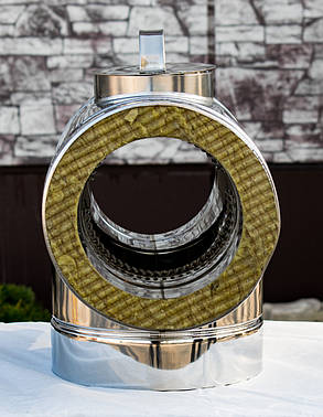 Тройник дымохода с ревизией 90° нерж\нерж 0,5 мм 160/220, фото 2