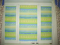 Уни-штапик, закрытая система (кассетная) рулонных штор с плоскими направляющими. Ткань Акварель. Каталог №2