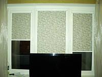 Уни-штапик, закрытая система (кассетная) рулонных штор с плоскими направляющими. Ткань Турне Орех. Каталог №2
